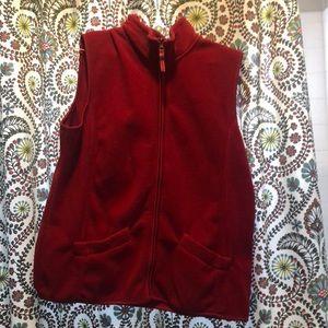 Red fuzzy vest
